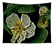 Yellow Flower Woodcut Tapestry