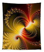 Yellow Gold Red Decorative Abstract Art Tapestry