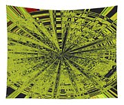 Yellow Green Black Abstract Tapestry