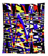 Yellow Red Blue Black And White Abstract Tapestry