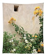 Yellow Roses And Tiny Window At Carmel Mission Tapestry