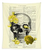 Skull With Yellow Roses Dictionary Art Print Tapestry