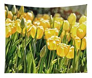 Yellow Tulip Panoramic Tapestry
