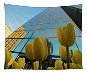 Yellow Tulips Looking Up At The Hancock Boston Ma Tapestry