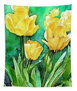 Yellow Tulips Tapestry
