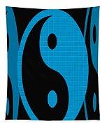Yin Yang Blue Mosaic Tapestry