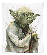 Yoda Watercolor Tapestry by Olga Shvartsur