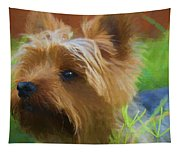 Yorkie In The Grass - Painting Tapestry