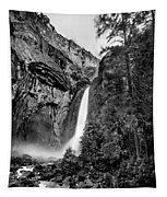Yosemite Waterfall Bw Tapestry