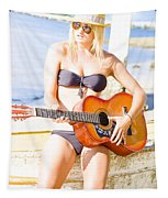 Young Attractive Blonde Woman Playing Guitar Tapestry