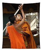 Young Buddhist Monks Laos Tapestry