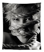 Young Expressive Woman Tied In Ropes Tapestry