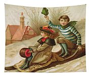 Young Girl And Boy Tobogganing, Victorian Christmas And New Year Card Tapestry