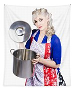 Young Housewife Lifting Lid On A Home Cooking Pot Tapestry