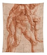 Young Man Carrying An Old Man On His Back Tapestry