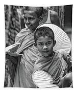 Young Monks 2 Bw Tapestry