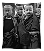 Young Monks II Bw Tapestry