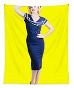 Young Retro Pinup Girl Wearing Sailor Uniform Tapestry