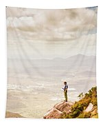 Young Traveler Looking At Mountain Landscape Tapestry