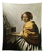Young Woman At A Virginal Tapestry
