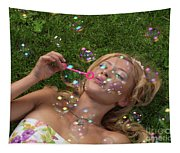Young Woman Having Fun In Summer Tapestry