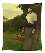 Young Woman In A Garden Of Oranges Tapestry