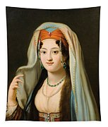 Young Woman In Traditional Ottoman Clothes Tapestry