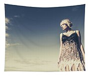 Young Woman Standing On The Beach Tapestry