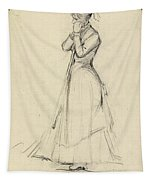 Young Woman With A Broom Tapestry