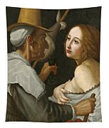 Young Woman With A Fortune Teller Tapestry