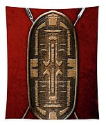 Zande War Shield With Spears On Red Velvet  Tapestry