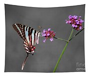 Zebra Swallowtail Butterfly With Verbena Tapestry
