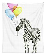 Baby Zebra Watercolor Animal With Balloons Tapestry