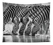 Zebras Drinking Tapestry