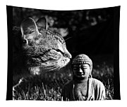 Zen Cat Black And White- Photography By Linda Woods Tapestry
