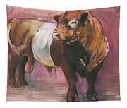 Zeus  Red Belted Galloway Bull Tapestry