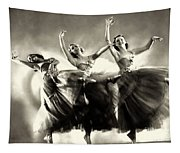 Ziegfeld Model  Dancers By Alfred Cheney Johnston Black And White Ballet Tapestry
