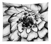 Zinnia Close Up In Black And White Tapestry