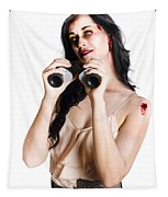 Zombie Woman With Binoculars Tapestry