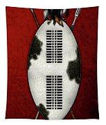 Zulu War Shield With Spear And Club On Red Velvet  Tapestry