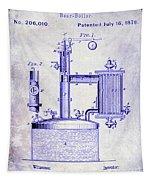 1878 Beer Boiler Patent Blueprint Tapestry
