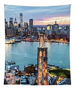 Aerial Of New York City  And Brooklyn Bridge At Dusk Tapestry