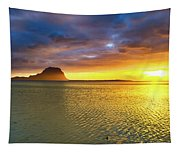 Amazing View Of Le Morne Brabant At Sunset.mauritius. Panorama Tapestry