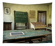 An Old Classroom With Blackboard And Boards With Old Script Tapestry