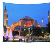 Hagia Sophia At Night Istanbul Turkey  Tapestry