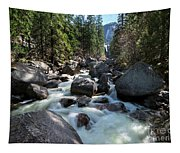 Merced River And Vernal Fall, Yosemite National Park Tapestry