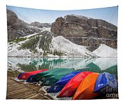 Moraine Lake Canoes Tapestry