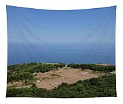 Photography View Over The Mountain Village Erice In Sicily Tapestry