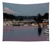 Pink Purple Glow Over Mount Rainier And Gig Harbor Marina After Sunset Tapestry