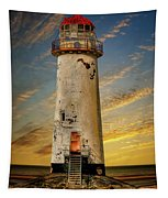 Point Of Ayr Lighthouse Sunset Tapestry